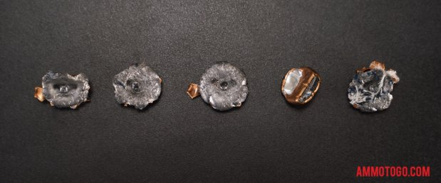 Expanded bullets from fired Federal Ammunition 45 ACP (Auto) 165 Grain Jacketed Hollow-Point (JHP) ammo