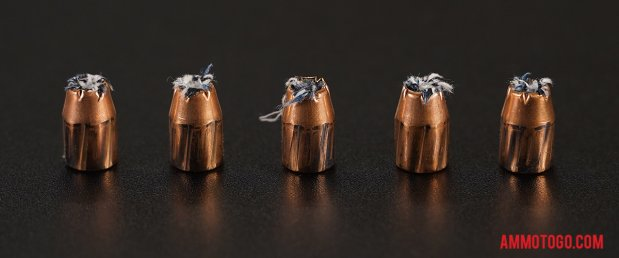 Fired rounds of PMC Ammunition 170 Grain 10mm Auto Jacketed Hollow-Point (JHP) Ammo