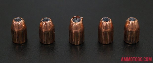 Birds-eye view of Hornady Ammunition 40 Smith & Wesson Ammo after firing into ballistic gelatin