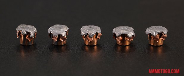 Top-down view of expanded Hornady Ammunition 10mm Auto 180 Grain Jacketed Hollow-Point (JHP) bullets