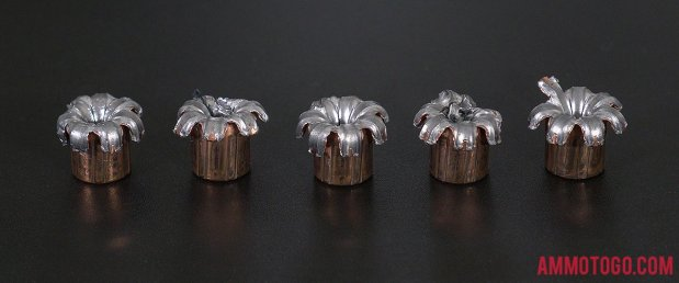 Top-down view of expanded Speer 45 ACP (Auto) 230 Grain Jacketed Hollow-Point (JHP) bullets