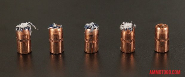 Expanded bullets from fired Speer 357 Magnum 158 Grain Jacketed Hollow-Point (JHP) ammo
