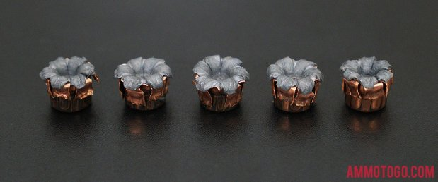 Top-down view of expanded Hornady Ammunition 45 ACP (Auto) 185 Grain Jacketed Hollow-Point (JHP) bullets