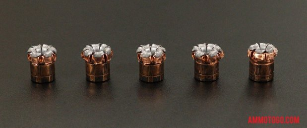 Expanded Hornady Ammunition 45 ACP (Auto) 220 Grain Jacketed Hollow-Point (JHP) bullets