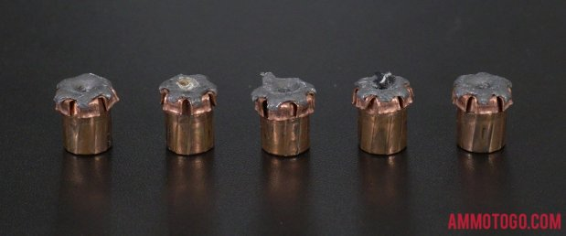 Expanded Hornady Ammunition 9mm Luger (9x19) 124 Grain Jacketed Hollow-Point (JHP) bullets