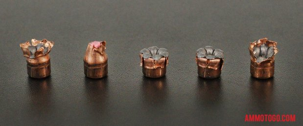 Top-down view of expanded Hornady Ammunition 38 Special 90 Grain Jacketed Hollow-Point (JHP) bullets