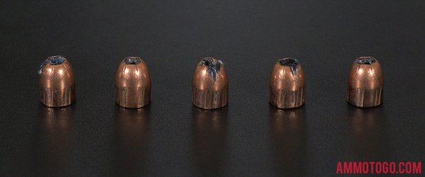 Birds-eye view of Remington Ammunition 380 Auto (ACP) Ammo after firing into ballistic gelatin