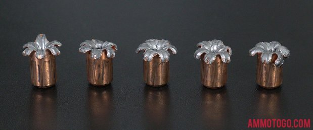 Speer 147 Grain Jacketed Hollow-Point (JHP) 9mm Luger (9x19) ammo fired into ballistic gelatin