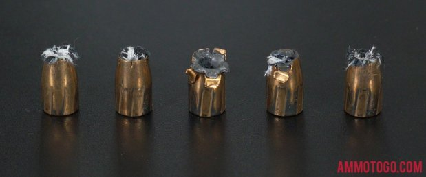 Birds-eye view of Federal Ammunition 9mm Luger (9x19) Ammo after firing into ballistic gelatin