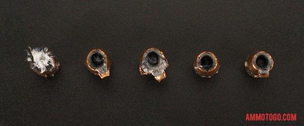 Birds-eye view of Federal Ammunition 40 Smith & Wesson Ammo after firing into ballistic gelatin