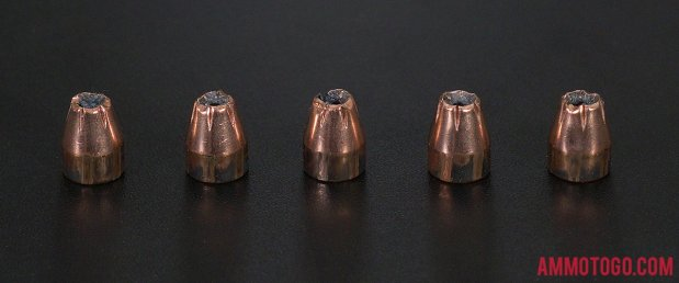 Birds-eye view of Hornady Ammunition 380 Auto (ACP) Ammo after firing into ballistic gelatin