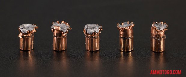 Top-down view of expanded Black Hills Ammunition 357 Magnum 158 Grain Jacketed Hollow-Point (JHP) bullets