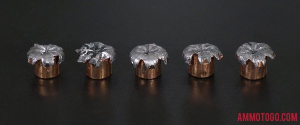 Fired rounds of Speer 155 Grain 40 Smith & Wesson Hollow Point Ammo