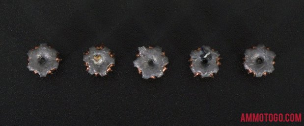 124 Grain Jacketed Hollow-Point (JHP) 9mm Luger (9x19) ammo from Hornady Ammunition after firing into ballistic gelatin