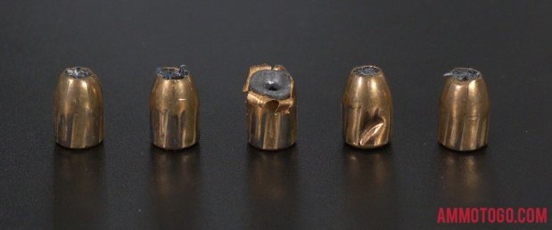Federal Ammunition 115 Grain Jacketed Hollow-Point (JHP) 9mm Luger (9x19) ammo fired into ballistic gelatin