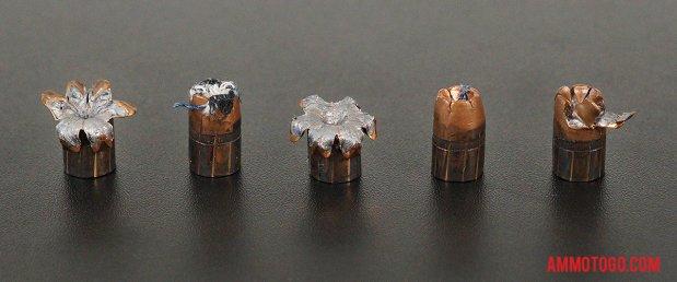 Birds-eye view of Winchester Ammunition 38 Special Ammo after firing into ballistic gelatin