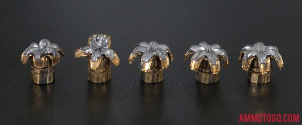 Expanded bullets from fired Federal Ammunition 9mm Luger (9x19) 147 Grain Jacketed Hollow-Point (JHP) ammo