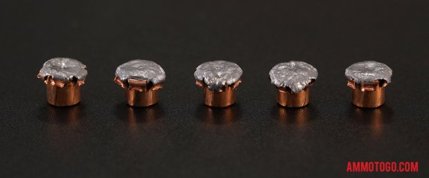 Top-down view of expanded Hornady Ammunition 10mm Auto 155 Grain Jacketed Hollow-Point (JHP) bullets