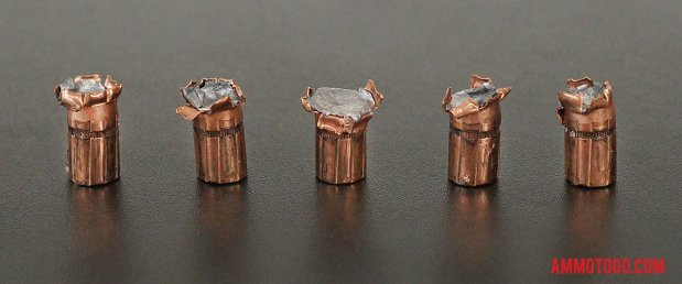 Hornady Ammunition 158 Grain Jacketed Hollow-Point (JHP) 357 Magnum ammo fired into ballistic gelatin