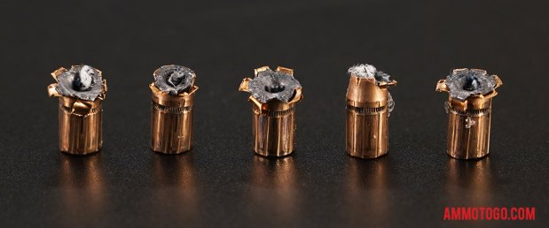 Expanded bullets from fired Federal Ammunition 357 Magnum 158 Grain Jacketed Hollow-Point (JHP) ammo