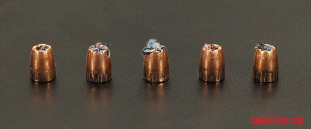 Birds-eye view of Winchester Ammunition 380 Auto (ACP) Ammo after firing into ballistic gelatin