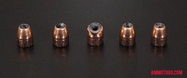 Fired rounds of Nosler Ammunition 185 Grain 45 ACP (Auto) Jacketed Hollow-Point (JHP) Ammo