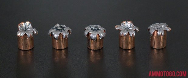 Speer 124 Grain Jacketed Hollow-Point (JHP) 9mm Luger (9x19) ammo fired into ballistic gelatin