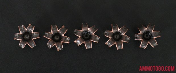 Barnes Bullets 185 Grain Solid Copper Hollow Point (SCHP) 45 ACP (Auto) ammo fired into ballistic gelatin
