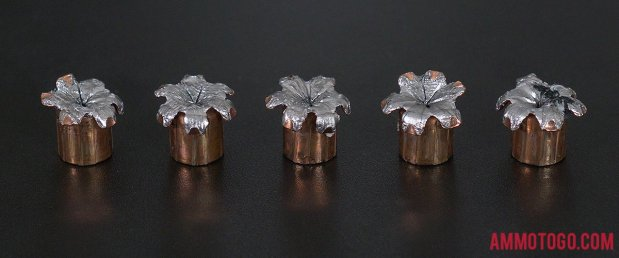 Birds-eye view of Speer 40 Smith & Wesson Ammo after firing into ballistic gelatin