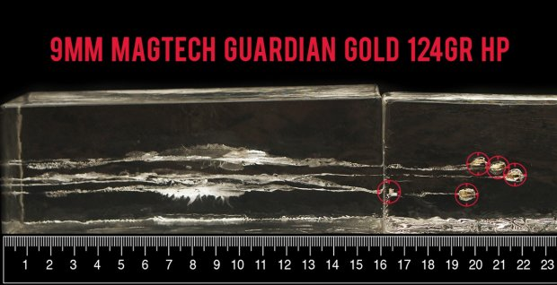 124 Grain Jacketed Hollow-Point (JHP) 9mm Luger (9x19) ammo from Magtech after firing into ballistic gelatin