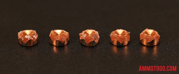Top-down view of expanded G2 Research 9mm Luger (9x19) 92 Grain Solid Copper Hollow Point (SCHP) bullets