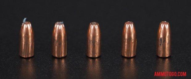Birds-eye view of Hornady Ammunition 22 Magnum (WMR) Ammo after firing into ballistic gelatin