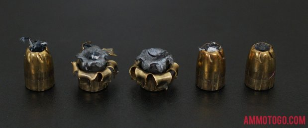 230 Grain Jacketed Hollow-Point (JHP) 45 ACP (Auto) ammo from Remington Ammunition after firing into ballistic gelatin