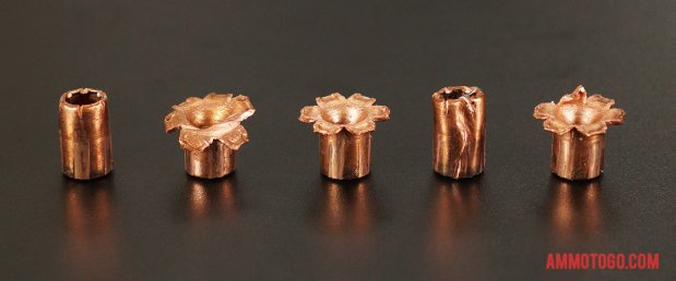 Magtech 130 Grain Jacketed Hollow-Point (JHP) 40 Smith & Wesson ammo fired into ballistic gelatin