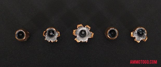 Birds-eye view of Federal Ammunition 40 Smith & Wesson Ammo after firing into ballistic gelatin