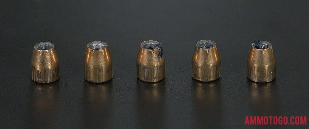 90 Grain Jacketed Hollow-Point (JHP) 380 Auto (ACP) ammo from Federal Ammunition after firing into ballistic gelatin