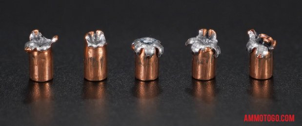 Expanded bullets from fired Speer 22 Magnum (WMR) 40 Grain Hollow Point ammo