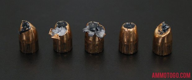 Birds-eye view of Federal Ammunition 45 ACP (Auto) Ammo after firing into ballistic gelatin