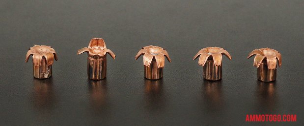 Expanded bullets from fired Buffalo Bore 357 Magnum 125 Grain Jacketed Hollow-Point (JHP) ammo