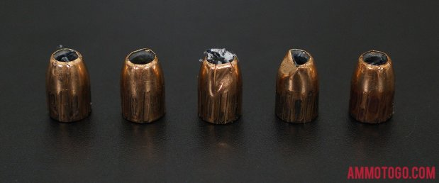 Federal Ammunition 230 Grain Jacketed Hollow-Point (JHP) 45 ACP (Auto) ammo fired into ballistic gelatin