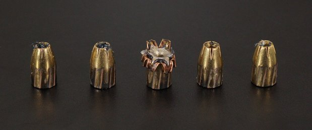 Magtech 124 Grain Jacketed Hollow-Point (JHP) 9mm Luger (9x19) ammo fired into ballistic gelatin