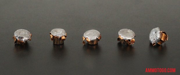 Top-down view of expanded Corbon 357 Magnum 110 Grain Jacketed Hollow-Point (JHP) bullets