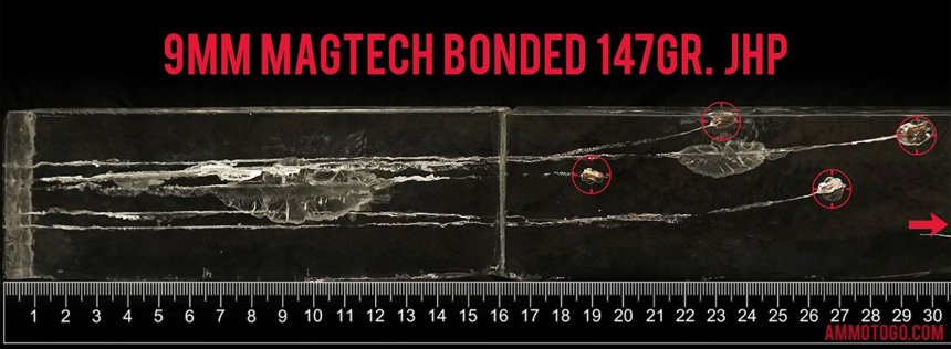 Gel test results for Magtech 147 Grain Jacketed Hollow-Point (JHP) ammo