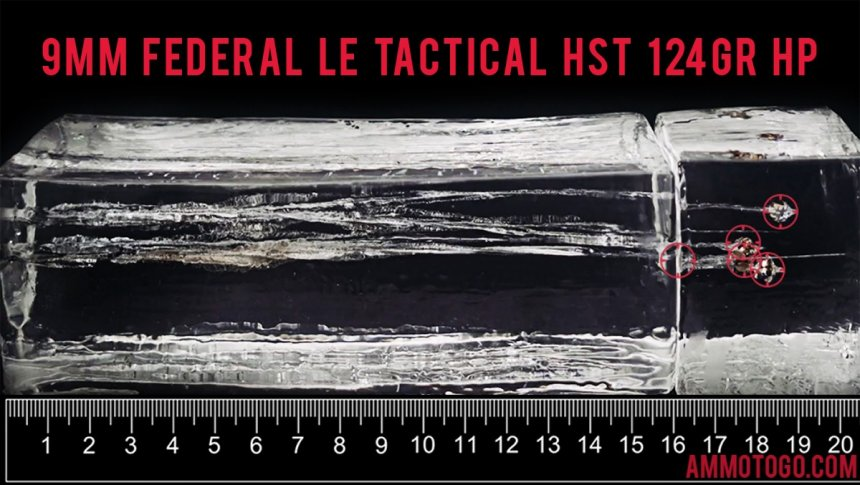 Federal Ammunition 124 Grain 9mm Luger (9x19) ammunition fired into ballistic gelatin