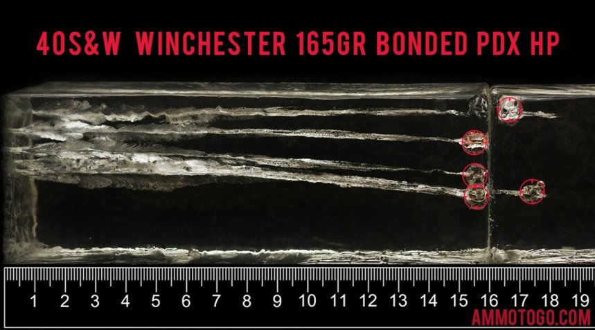 Winchester Ammunition 165 Grain 40 Smith & Wesson ammunition fired into ballistic gelatin