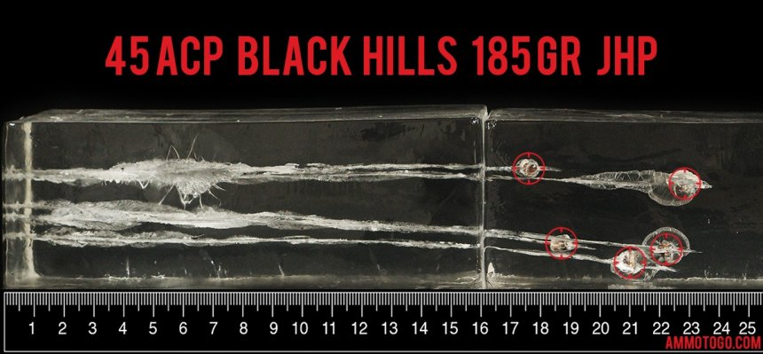 Gel test results for Black Hills Ammunition 185 Grain Jacketed Hollow-Point (JHP) ammo