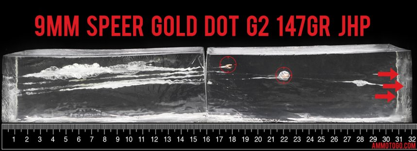 Gel test results for Speer 147 Grain Jacketed Hollow-Point (JHP) ammo