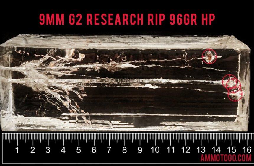 G2 Research 92 Grain 9mm Luger (9x19) ammunition fired into ballistic gelatin