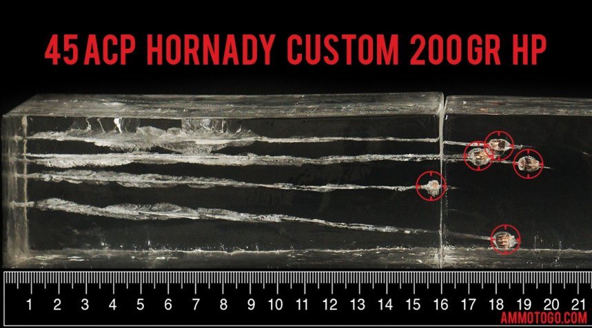 20rds - 45 ACP Hornady XTP 200gr. HP Ammo fired into ballistic gelatin