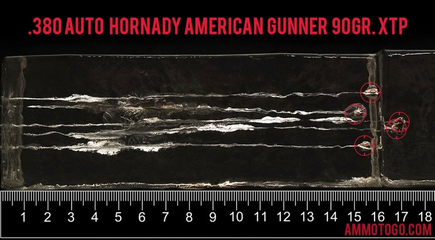 25rds – 380 Auto Hornady American Gunner 90gr. XTP Ammo fired into ballistic gelatin